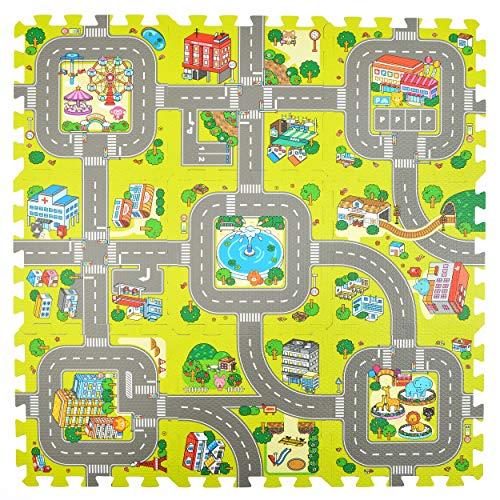Pink Papaya Puzzlematte Stadt, Straßen-Teppich 92x92cm, 9tlg. Spielmatte Puzzle für Kinder (Kinder Für Stadt-teppich)