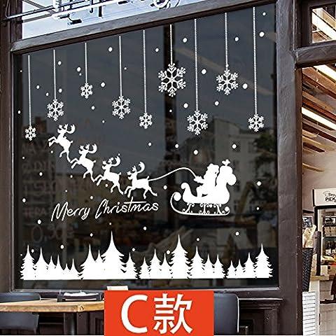 Anno Nuovo Giorno Di Natale Ornamenti Azienda Griglie Vetri Porta Poster Mall Negozi Di Abbigliamento Vetrina Parete Di Vetro Sticker ,C,104*155Cm - Nuova Casa Di Vetro Ornamento