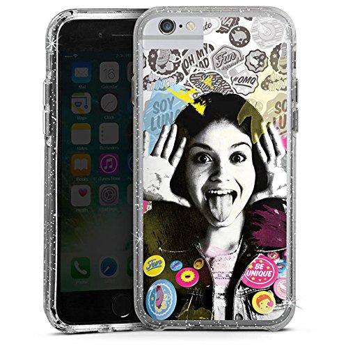Apple iPhone 5s Bumper Hülle Bumper Case Schutzhülle Soy Luna Disney Fanartikel Geschenke Bumper Case Glitzer silber