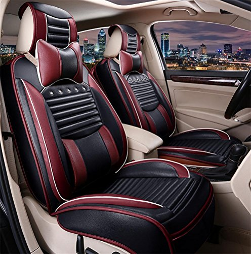 DIELIAN (Vorne + hinten) spezielle Leder Auto Sitzbezüge,black (Autositzbezüge Für Ford-suv)