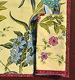 Lorenzo Cana Marken Stoffserviette Serviette mit herrlichem Blumenmuster floral Blumen Bedruckt 100% Baumwolle Pastell hellgelb 9609077