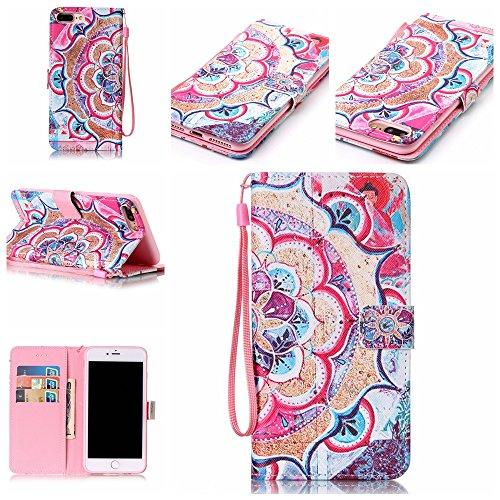 Ooboom® iPhone 5SE Coque PU Cuir Flip Folio Housse Étui Cover Case Wallet Format Portefeuille Support Pochettes Cartes pour iPhone 5SE - Paume Totem Fleur