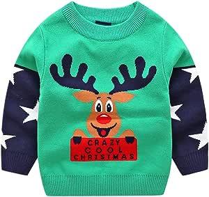 Enfant No/ël Pull Tricot/é Sweat-shirt Gilet Sans Manches Cerf Tenues 3-4 Ans