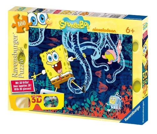 Ravensburger 13630 - Spaß mit SpongeBob - 100 Teile 3D XXL Puzzle (Mit 3D Brille)