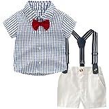 Moneycom Toddler Baby Boys Gentleman - Camiseta de cuadros y pantalones cortos para bebé, algodón, disfraz de ceremonia