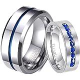 خاتم خاتم خاتم من الفولاذ المقاوم للصدأ للأزواج من خواتم الزواج من رينج هارت مجموعة زرقاء للرجال خاتم زفاف للنساء