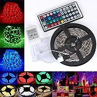 STRIR Tiras de LED Iluminación 3528 RGB 5M 300 leds, pegan en la Ventana, Control de 44 Teclas para la Decoración detrás de la Televisión , de la Cocina y Bar - la Energía 12V 2A
