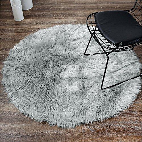 LIYINGKEJI Deluxe Weiche Moderne Faux Schaffell Shag Teppiche Kinder Spielen Teppich Für Wohnzimmer & Schlafzimmer Sofa 30x30 cm (Grau)