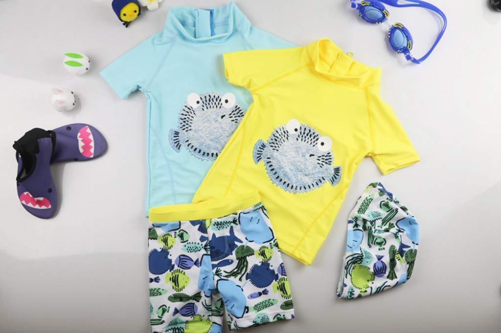 QIAODOUMADAI Niño Traje de baño para niños Puffer Pescado baño de Manga Corta niños pequeños bebé Traje de baño Sombrero… 1