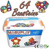 MAGUPLAY Magnetische Bausteine Set 64 Teile - Magnetbausteine in praktischer CLIPBOX. Pädagogisch wertvolles Magnetspielzeug für Kinder ab 3 Jahren - Kreatives Geschenk für Jungen & Mädchen - BPA-frei