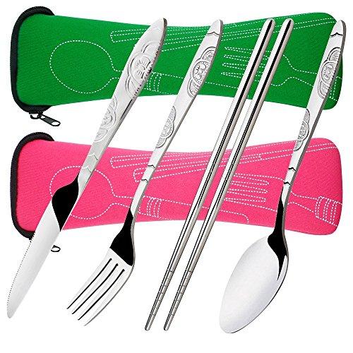 Senhai 8 Piezas Mostrada Conjuntos Cuchillo, Tenedor, Cuchara, Palillos, 2 Paquetes Vajilla con Estuche de Transporte para Viajar Cámping Picnic Excursionismo(Verde, Rosa)