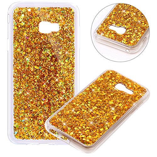 Surakey Compatible avec Coque Samsung Galaxy A3 2017,Paillette Strass Brillante Glitter Transparent Silicone TPU Souple Housse Etui Bumper Case Cover de Protection pour Galaxy A3 2017,Or