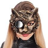 Carnival Toys - Máscara steampunk de plástico duro dorado gato con espejo, multicolor (1404)