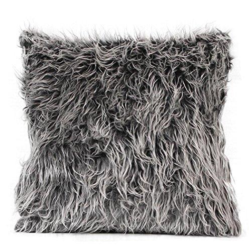 Kissenbezug kissenhülle Kopfkissenbezug Pillowcase,Cashmere-Feeling, 45 x 45 cm,Grau/ Braun LuckyGirls (Dunkelgrau)