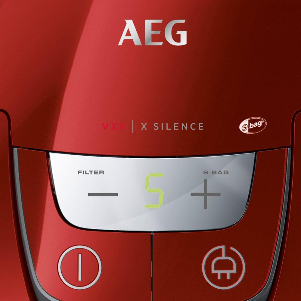 AEG VX8-4-CR-A Staubsauger mit Beutel (Ideal für Haustierbesitzer, nur 58 dB(A), inkl. Zusatzdüsen, 12 m Aktionsradius…