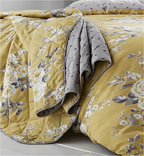 Catherine Lansfield Canterbury Easy Care Bedspread Ochre, 220x230cm