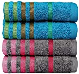 #8: Casa Copenhagen Exotic 4 Piece Hand Towel 475 GSM Cotton Towel Set - Hawaiian Ocean/Glacier Grey