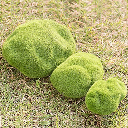 Kunstrasen Moos Steine Miniatur Puppenhaus Garten Craft Fairy Bonsai Pflanze Moos Bälle Decor, Schaumstoff, grün, S: 6 Cm