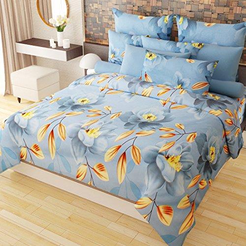 Home Candy Vivid 3-D 152 TC Cotton Blend Double Bedsheet with 2 Pillow Covers - Floral, Multicolour