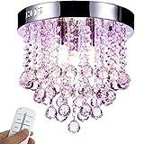 Yorbay LED Kristall Deckenleuchte Kronleuchter mit RBP Licht, G9 LED Lampe, mit Fernbedienung für Wohnzimmer, Esszimmer