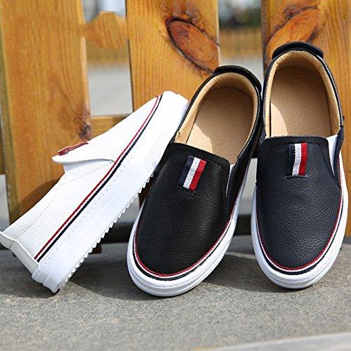 Jungen Frühling Moderne Britische Stil Synthetik Obermaterial Flach Gummi Sohle Slippers Lässige Sneaker Schuhe Dunkel Blau