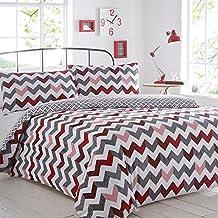 Pieridae – juego de edredón y fundas de almohada con patrón cheurón color rojo para sofá cama, cama individual, matrimonial o tamaño King, algodón poliéster, Rojo, doble
