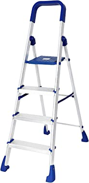 Happer Premium Foldable Aluminium Step Ladder, Clamber Pro, 4 Steps (Blue & Satin)