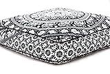 Aakriti Gallery schöner quadratischer Mandala-Kissenbezug, Meditationskissen, Sitzplatz, Überwurf, Bezug, dekorativ, Bohemian-Boho-Indisch, nur der Bezug (89 cm). schwarz / weiß
