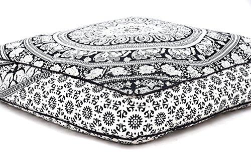 Hermosa funda de cojín cuadrada con diseño de mandala, de Aakriti, para cojín de meditación, asiento...