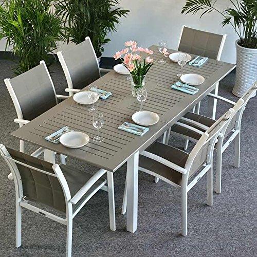 Lottie Tisch & 6 Stühle - WEIß & CHAMPAGNERFARBEN | Gartenmöbel-Set mit ausziehbarem 210cm Tisch