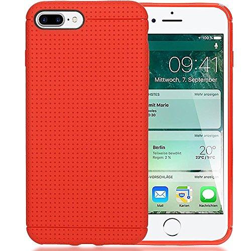 iPhone 8 Plus / 7 Plus Hülle Handyhülle von NICA, Ultra-Slim Case Dünne Punkte Schutzhülle, Etui Handy-Tasche Back-Cover Bumper, TPU Silikon Gummi-Hülle für Apple iPhone 7 Plus / 8 Plus - Schwarz Rot