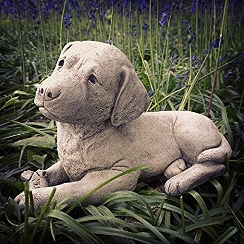 New Labrador Dog & Bone Stone Garden Statue Ornament Sculpture Memorial 10kg