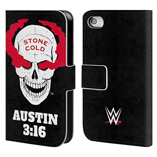Head Case Designs Offizielle WWE Stone Cold White Skull 2018/19 Superstars Leder Brieftaschen Huelle kompatibel mit iPhone 4 / iPhone 4S (32gb Apple Iphone White 4s)