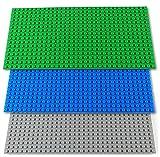 Katara 1672 - Bauplatte 3er Set 12,25cm x 25,5cm / 16 x 32 Pins, Kompatibel Lego, Sluban, Papimax, Q-Bricks, Grün Blau Grau