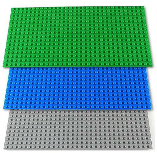 tte 3er Set 12,25cm x 25,5cm / 16 x 32 Pins, Kompatibel Lego, Sluban, Papimax, Q-Bricks, Grün Blau Grau ()