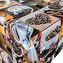 Hule para mesa, diseño con café y granos de café en cuadrados, largo a elegir, toalla, 140 cm x 140 cm