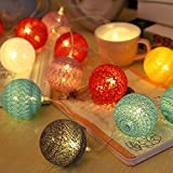 LED luz de Cadena, ELINKUME 20LEDs RGB Bola de Lana 3,3M Luces de Hadas con pilas Decoración Ideal para Interior/ Balcón/ Fiesta/ Boda/ Vacaciones