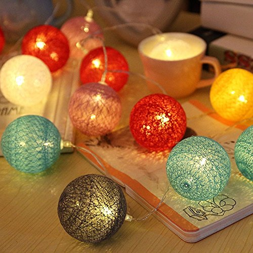 Bolas algodón LED cadena luz - ELINKUME 20LED RGB
