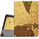 "Vintage WORLD-MAP Ultra Slim Lightweight PU Leather Folio Flip Case Flip Cover For SamSung Galaxy Tab A 10.1"" Inch SM- P580 SM- P585 Flip Cover Case (Map - Brown)"