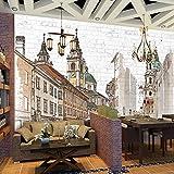 Pintado a Mano Ciudad Europea Murales Grandes Cafetería Restaurante Dormitorio Decoración de Pared de ladrillo Arte Mural Foto wallpaper-200x140cm
