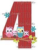 wolga-kreativ Applikation Geburtstag Zahl 4 Geburstagsshirt Mädchen Eule Eulenfamilie Bügelbild zum selbst Aufbügeln A5