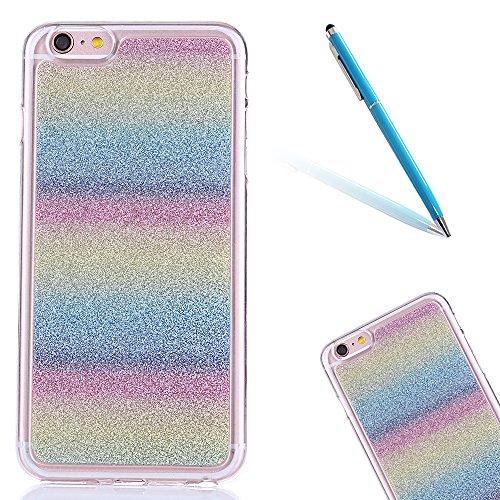 """Flexible Mat Rubber Couverture pour Apple iPhone 6Plus/6sPlus 5.5""""(NON iPhone 6/6s 4.7""""), CLTPY Mignon Dessin Arrière avec Détachable Scintillement Anti Scratch Pare-chocs avec Support de Bague pour i Rainbow"""