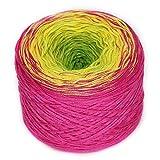 Rellana Regenbogen, Bobbel, Farbe 21 lollipop, 4-fach gefachtes Garn zum Häkeln und Stricken, 200 Gramm Knäuel ca. 800 M LL, toller Farbverlauf