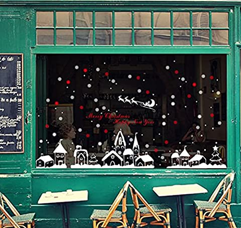 Weihnachten Serie Kreativität Individualität Wohnzimmer Schlafzimmer Fenster Glas Zu Speichern Wandaufkleber Abnehmbar Dekorative Aufkleber Weihnachten Schneeflocken Stadt 60 * 90 Cm