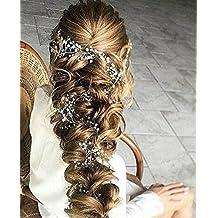 Catena testa Aukmla per sposa -Accessori matrimonio con strass di cristallo per donne e ragazze (colore argento)