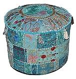 Indian Pouf Hocker Jahrgang Patchwork verschönert mit Patchwork-Wohnzimmer osmanischen Cover, 46 x 33 cm