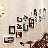 15 Foto Bilderrahmen Sets Mehrere für den Hintergrund Wandmontage Hängen mit Massivholz Collage Kombination im Wohnzimmer Schlafzimmer Restaurant Korridor Treppen in kreative einfache Rechteck Geometrie Dekoration Requisiten Weiß