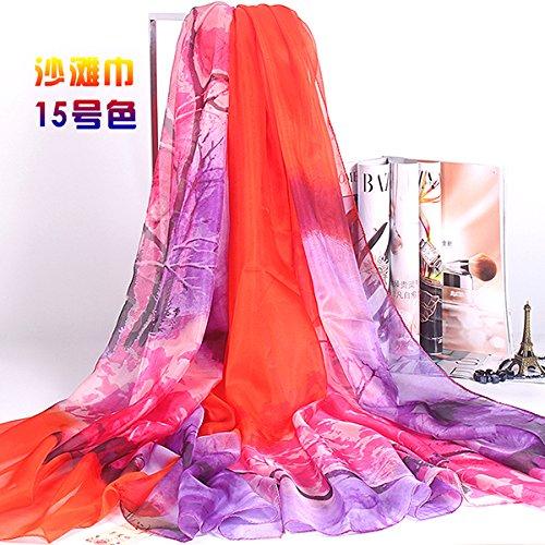 Donna sciarpe di seta in primavera e in autunno stampa lunga aria condizionata scialli per estate sunban scialle sciarpa 195cm*140cm,n. 15 color regalo di compleanno per la festa della mamma regalo