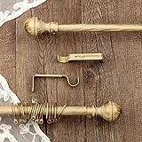 AT17 Gardinenstange Vorhangstange Gardinenstange Variable Länge Landhaus Shabby Chic - Sphäre - 120-210 - Durchmesser 2 cm - Elfenbein Dunkel/Gold - Metall