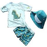 Sunbaby Bañador de dos piezas para bebé y niño, diseño de dinosaurios, con gorro UPF 50+